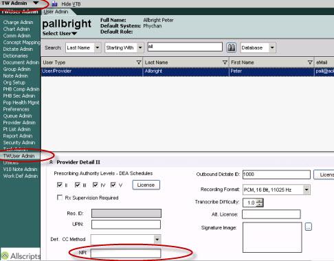 Updating npi number information