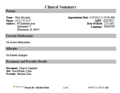 patient summary information aka clinical summary galen