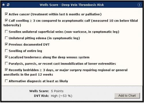 Galen eCalcs - Calculator: Wells Score (DVT Risk) - Galen